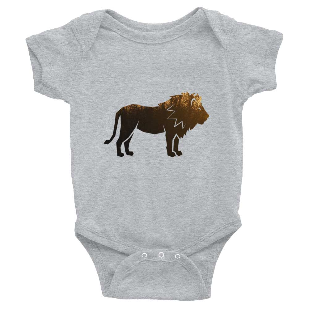 Lion Habitat Baby Onesie - Heather Grey