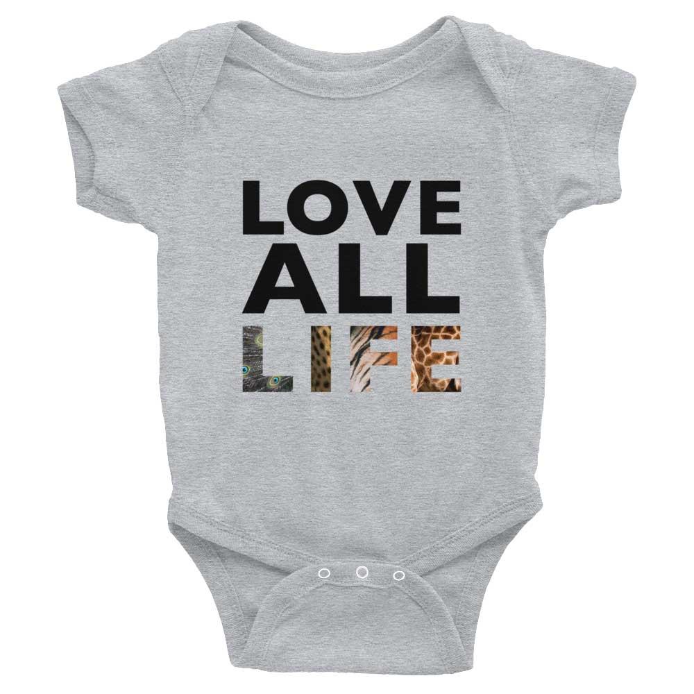 Love All Life Baby Onesie - Heather Grey