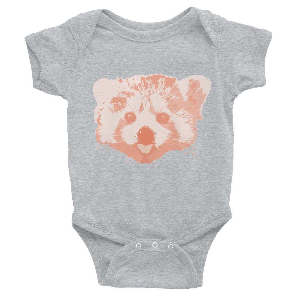 Red Panda Baby Onesie - Heather Grey