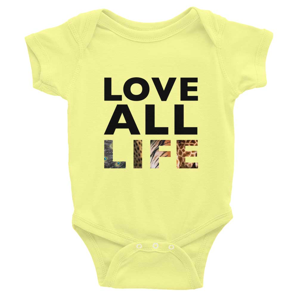 Love All Life Baby Onesie - Yellow