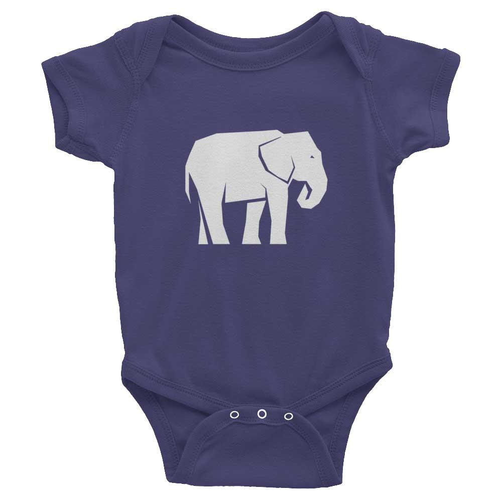 Elephant Habitat Baby Onesie - Navy