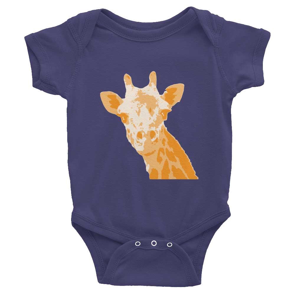 Giraffe Baby Onesie - Navy