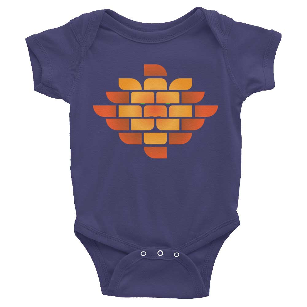 Brick Lion Baby Onesie - Navy