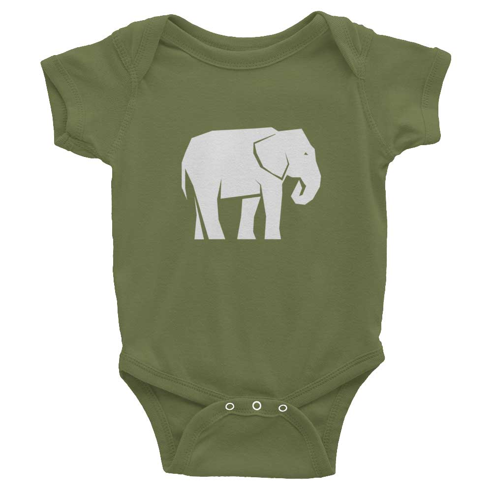 Elephant Habitat Baby Onesie - Olive