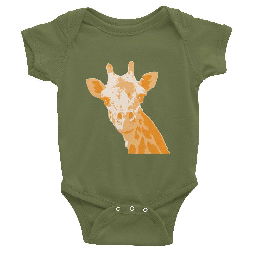 Giraffe Baby Onesie - Olive