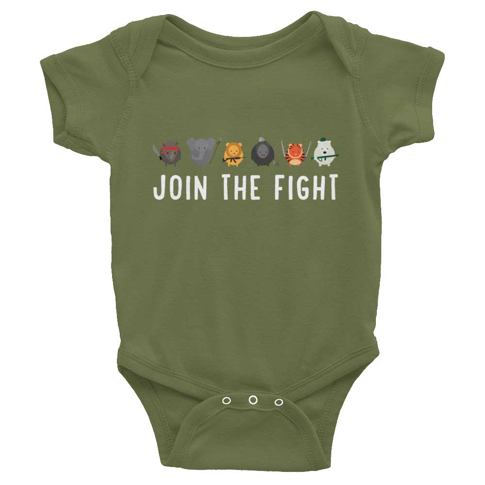 Join the Fight Baby Onesie - Olive