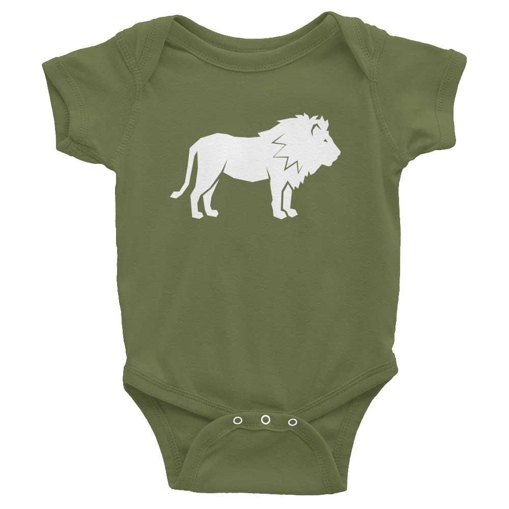 Lion Habitat Baby Onesie - Olive