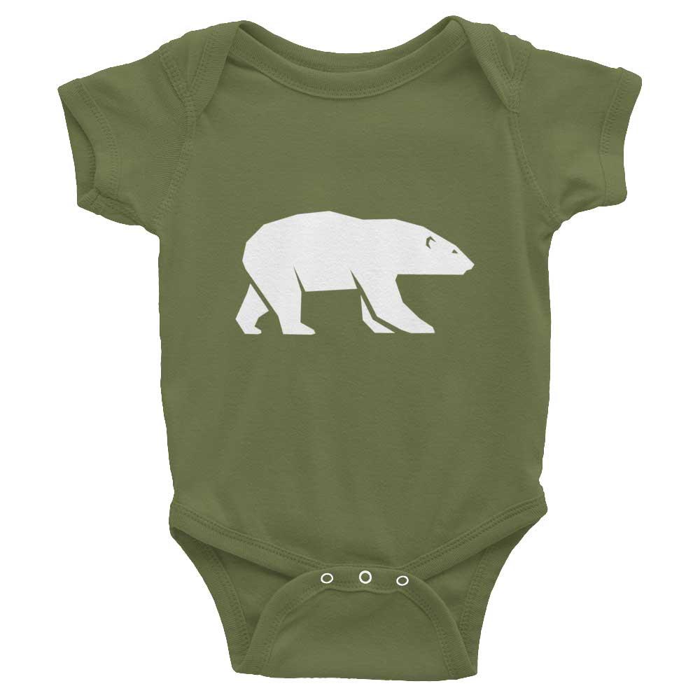Polar Bear Habitat Baby Onesie - Olive