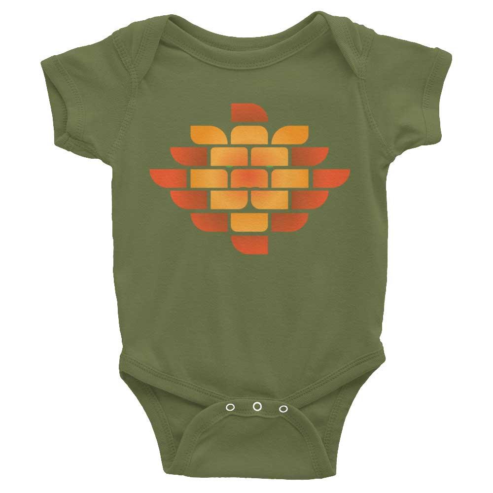 Brick Lion Baby Onesie - Olive