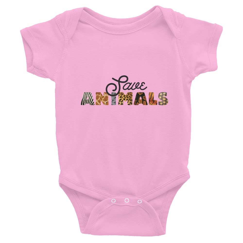 Save Animals Baby Onesie - Pink