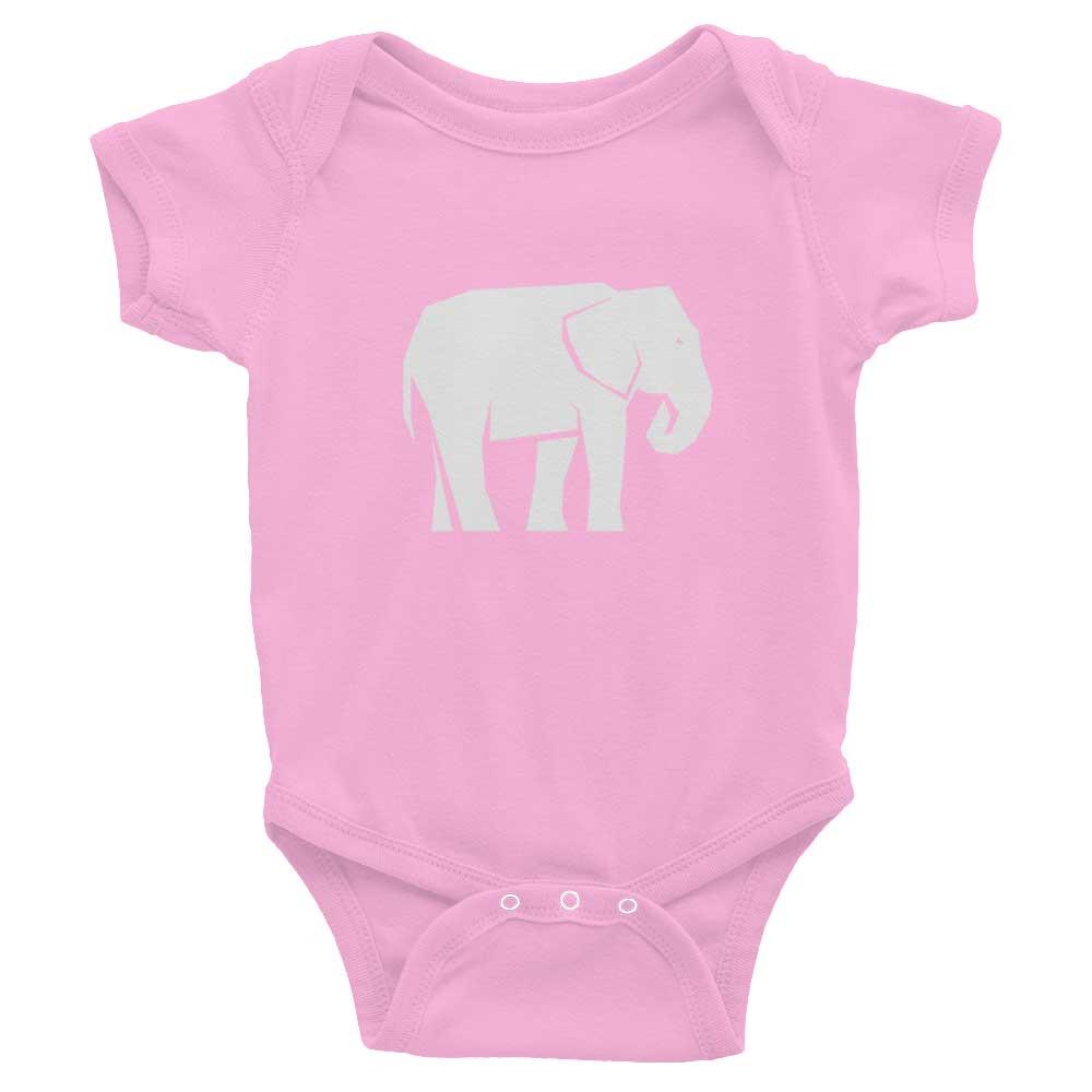 Elephant Habitat Baby Onesie - Pink