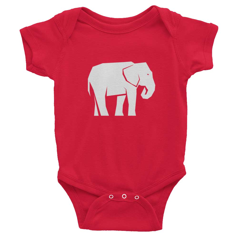 Elephant Habitat Baby Onesie - Red