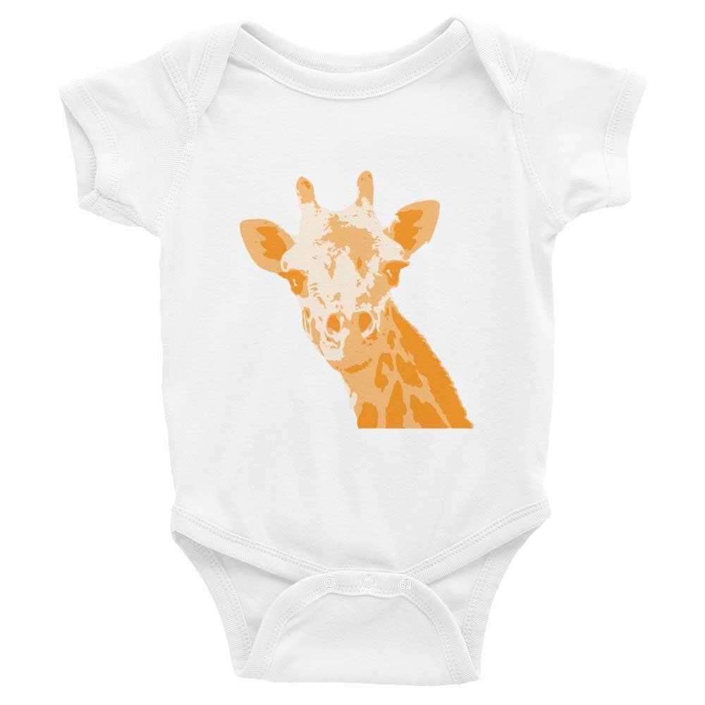 Giraffe Baby Onesie - White