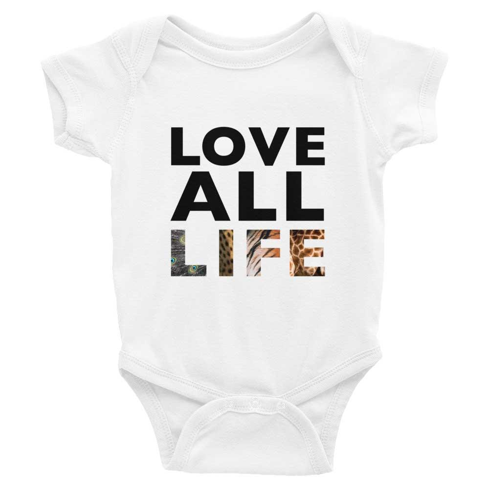Love All Life Baby Onesie - White