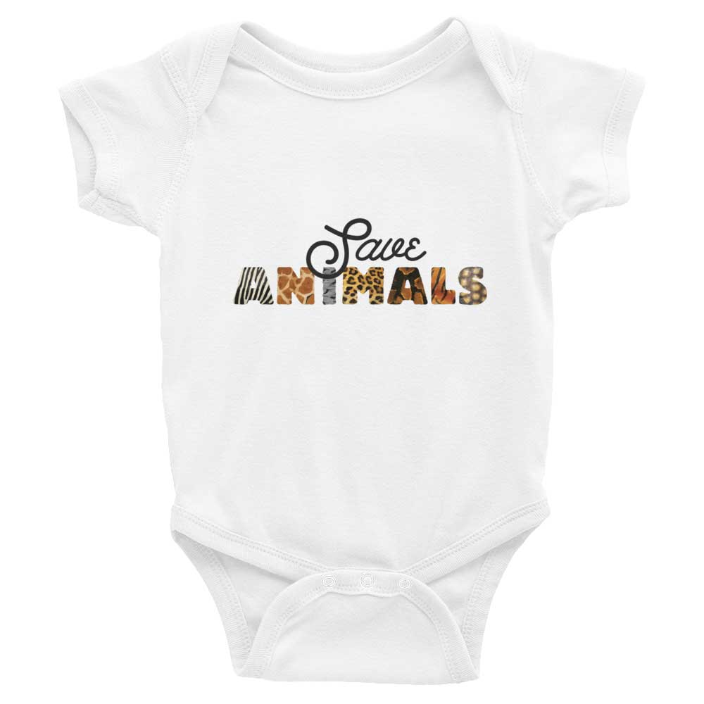 Save Animals Baby Onesie - White