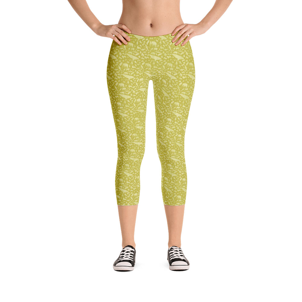 Endangered Species Solid Capri Leggings - Gold