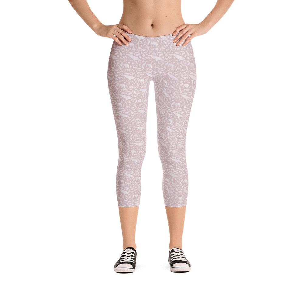 Endangered Species Solid Capri Leggings - Pink