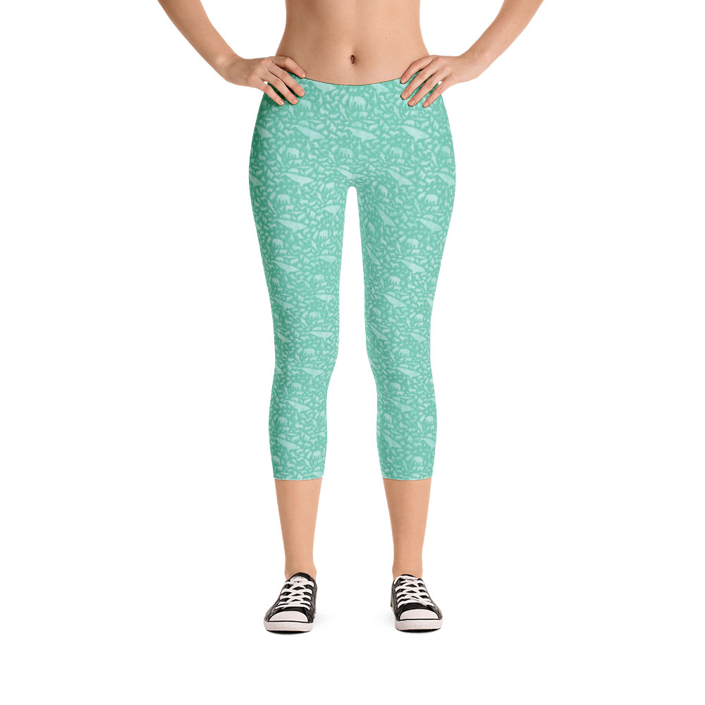 Endangered Species Solid Capri Leggings - Sea Foam Green