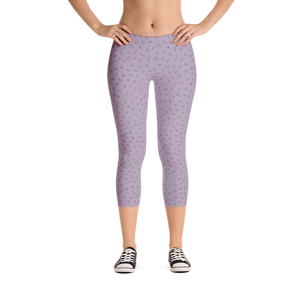 Endangered Species Outline Capri Leggings - Lavender