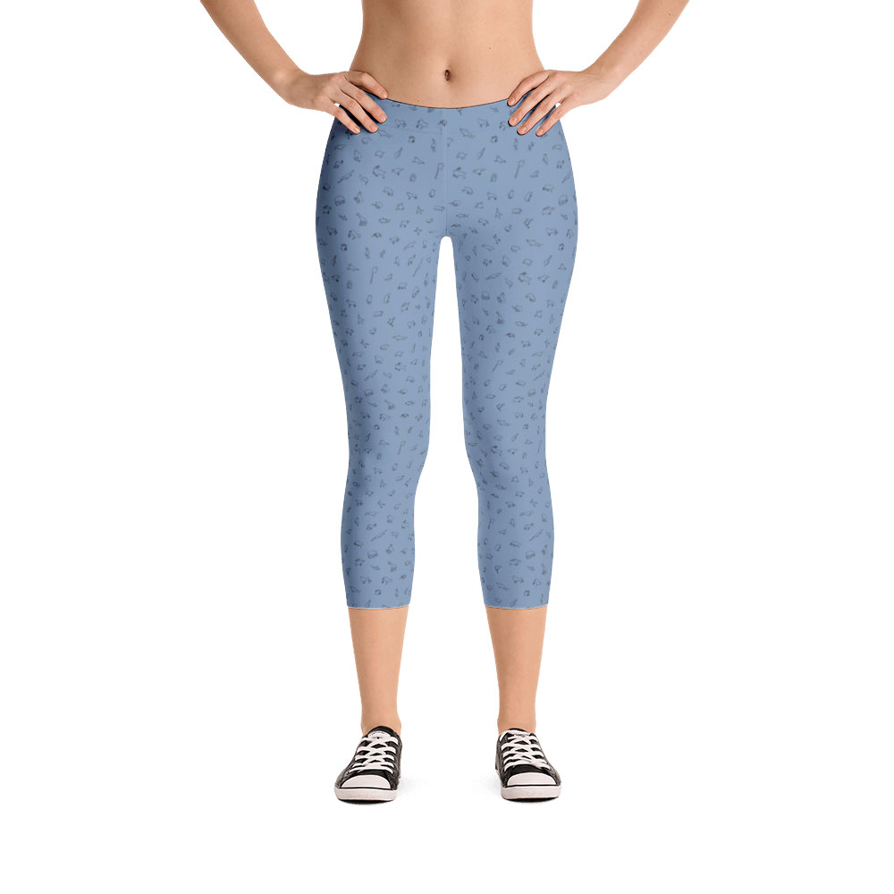 Endangered Species Outline Capri Leggings - Light Blue