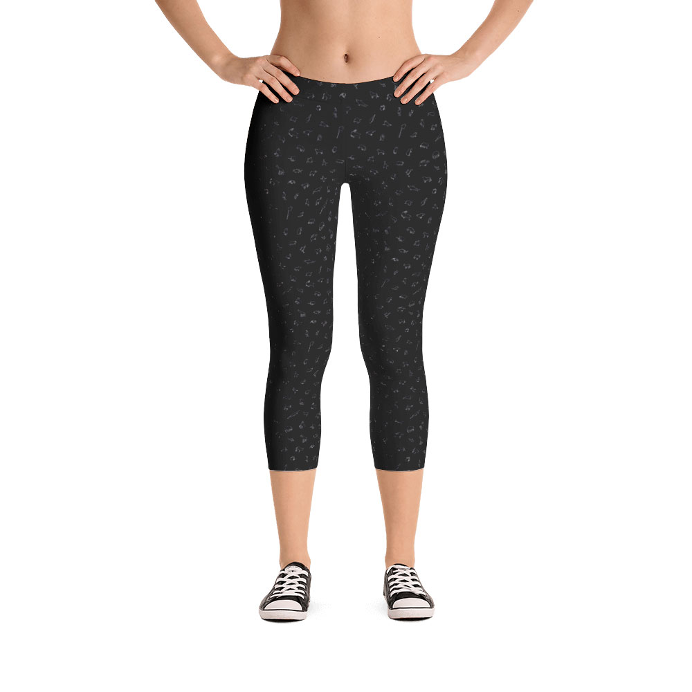 Endangered Species Outline Capri Leggings - Black