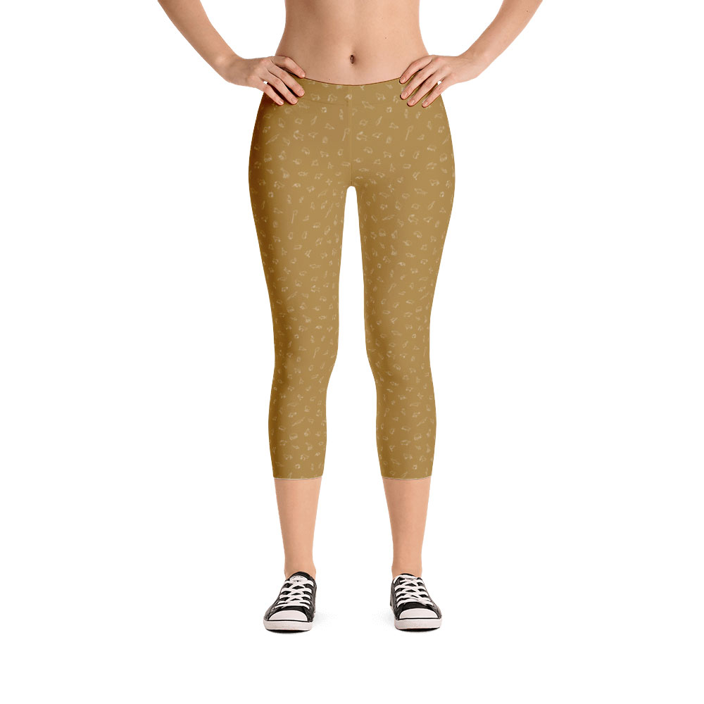 Endangered Species Outline Capri Leggings - Mustard