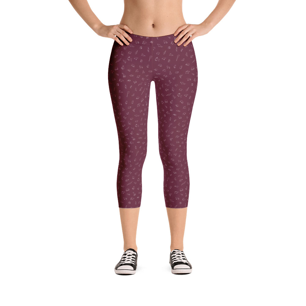 Endangered Species Outline Capri Leggings - Cranberry