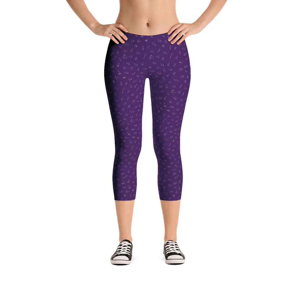 Endangered Species Outline Capri Leggings - Purple