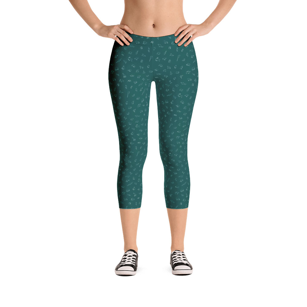 Endangered Species Outline Capri Leggings - Green