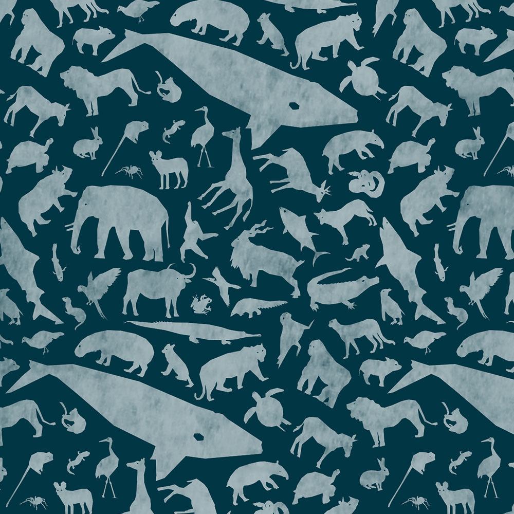Endangered Species Solid Pattern Up Close - Blue Green
